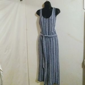 NWOT, JUMPSUIT, BLUE/WHITE CHAMBRAY